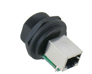 Jack D-size with R/A RJ45 SH LED Jack